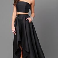 Strapless High Low Two-Piece Prom Dress