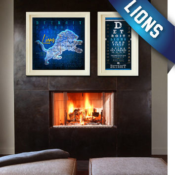 Detroit Lions 2-Piece Special - Retro City Map and Vintage Eye Chart - Christmas, Birthday, Anniversary Gift