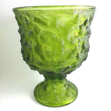 E.O. Brody Crinkle Avocado Green Pedestal Bowl, Decorative,Indiana Glass Co,Anchor Hocking,Retro Kitchen,Candy Nut Dish,Christmas Decor