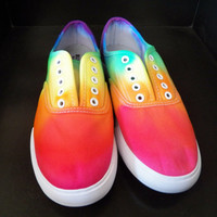 Rainbow Tie Dye Shoes, Hipster, Back to School, Rainbow, Colorful (CUSTOM COLORS AVAILABLE)