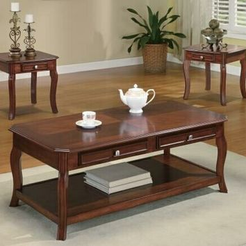 3 pc Wildon collection light bourbon finish wood curved leg coffee table set