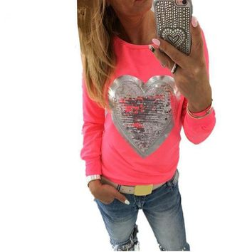 High Quality  2017 Spring Women T Shirt Heart Sequins Long Sleeve Tshirt Tops Tee Shirt Femme Casual Camisetas Mujer Se28