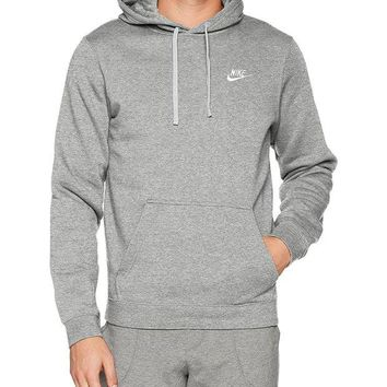 DCCKLG7 Nike Mens Sportswear Pull Over Club Hooded Sweatshirt - XX-Large - Grey/White