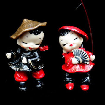 Asian Doll Enesco Figurines | Mid-Century Japan| Red and Black | Enesco Japan | Japanese Chinese Doll | Made in Japan | Japan Figurines
