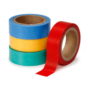 Darice: 4 Rolls Primary Colors Washi Tape in 4 Colors for Packaging, Cards, Decorative, Self Adhesive, Yellow, Red, Blue, Green