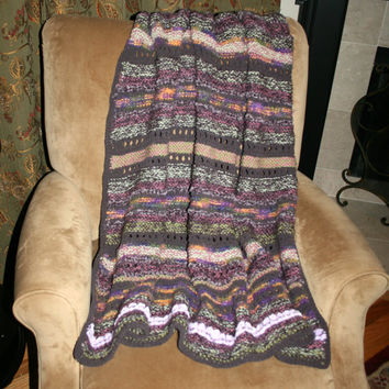 Southwestern Knit Blanket Purple Orange Afghan Throw Blanket Gift Idea Handmade Blanket Hand Knit Serape Blanket Green Lavender