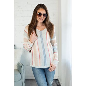 By The Sea Striped Knit Hoodie Sweater : Ivory/Multi