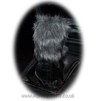 Fuzzy faux fur Dark Grey Gear knob cover cute