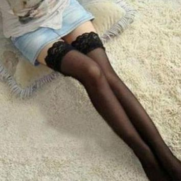 Women's Fashion High Quality Sexy Lace Silk Thighs Pantyhose Stockings smt87