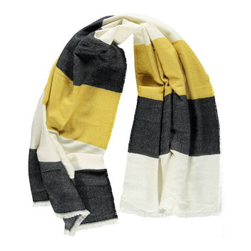 Frayed Colorblock Oblong Scarf
