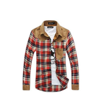 Plaid Red Flannel Button Up Shirt
