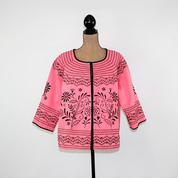 Womens Plus Size Jacket 1X Pink Jacket Embroidered Cotton Jacket 3/4 Sleeve Spring Jacket Plus Size Clothing Womens Clothing