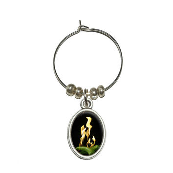 Super Hot Flaming Chili Peppers Wine Glass Charm - No. 2
