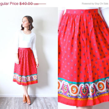 15% off VALENTINES SALE Vintage SMALL // Red Boho floral // aztec navajo // mid-length summer skirt // maxi skirt // triable print // festiv