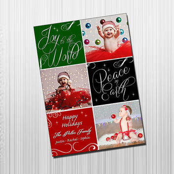 Custom Photo Holiday Card - Digital File Photo Holiday Card - Whimsical Squares