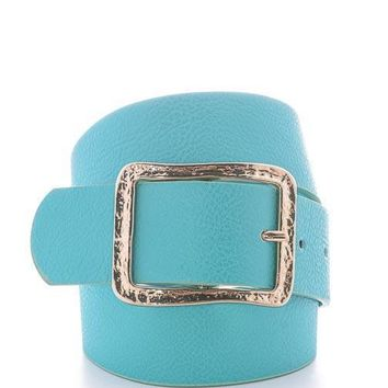 Turquoise Adjustable Belt with Gold Buckle