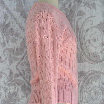 Pink Cardigan Sweater Cable Knit Cardigan Light Pink Sweater Pale Pink Snug Fit Fitted Cardigan Womens Size Small