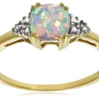 10k Yellow Gold, October Birthstone, Created Opal and Diamond Ring, Size 5