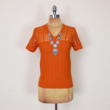 Vintage 70s Pumpkin Orange Crochet Sweater Crochet Top Open Knit Sweater Short Sleeve 70s Sweater 70s Hippie Sweater Hippy Boho Sweater XS S
