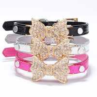 Dog Collar Bling Crystal Bow Leather Pet Collar Puppy Choker Cat Necklace