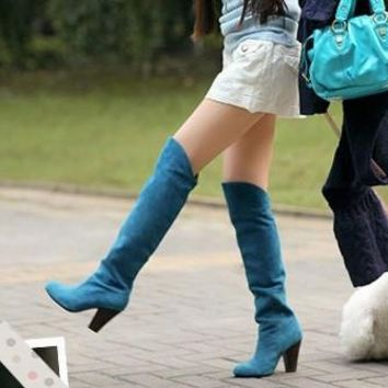 2015 Fashion Women Boots Shoes Black Suede High-heeled Knee Boots Knight Boots = 19464