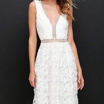 Beloved Bloom Ivory Lace Midi Dress