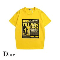 DIOR 2019 early spring new tide brand men and women round neck short-sleeved T-shirt Yellow