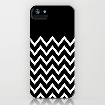 White Chevron On Black iPhone Case by Pencil Me In ™ | Society6