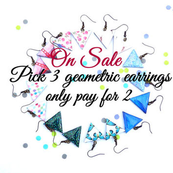 ON Sale Pick any 3 earrings and only pay for 2, Geometric earrings, SALE, Summer SALE, Triangle earrings, Buttefly wing, Golden gate bridge