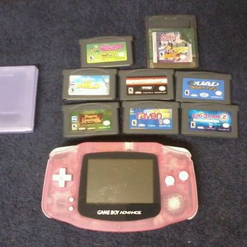 Nintendo Gameboy Advance Clear Pink With 8 games