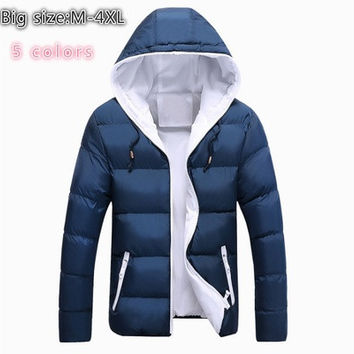High Quality 2016 New Winter Jacket Men / Women Warm Down Jacket Fashion Men's Hooded Overcoat Wadded Slim Thickening Keep Lovers Casual Coat (Multi-color / Black Red Blue) [9210701955]