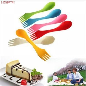 LINSBAYWU 3 In 1 Spoon Fork Knife Camping Hiking Utensils Spork Combo Travel Camp Tableware set