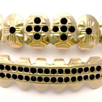 Black Stones Cross Fangs Gold Plated Grillz Set
