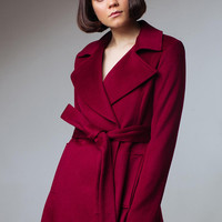 Burgundy Coat Burgundy Wool Coat Red Wine Coat Ruby Coat Long Wool Coat Spring Coat Women Coat Burgundy