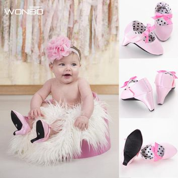 New Fashion 2017 Hot Selling Infant Toddler Crib Babe Newborn Baby Girls Princess Bow Mary Jane Ballet Dress Shoes High Heels