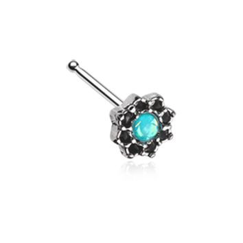 Silver Lotus Opal Sparkle Filigree Nose Stud Ring 20ga Surgical Steel Body Jewelry