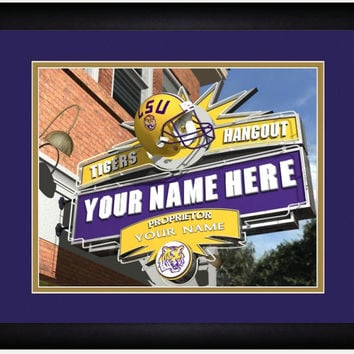 NCAA LSU Tigers Sports Hang Out Print Personalized and Framed