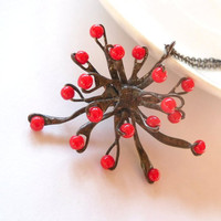 Copper wire pendant red beaded jewelry funky statement necklace Snowflake