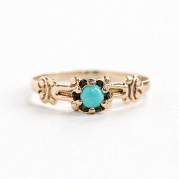 Antique Victorian 10k Rose Gold Turquoise Ring - Late 1800s Vintage Size 7.5 Teal Blue Cabochon Stone Jewelry