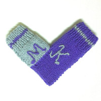 One mitten for two hearts, knitting lovers glove for him and her, with letters, anniversary gift, valentines day gift, romantic gift