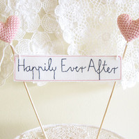 Wedding Cake Topper, Happily Ever After, Boho Wedding, Love Banner Sign, Wedding Decor, Cake Decor, Pink Wedding