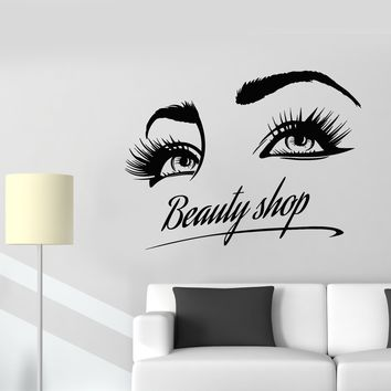 Vinyl Wall Decal Beauty Shop Logo Girl Eyelashes Eyes Makeup Cosmetics Stickers (2815ig)