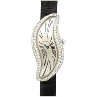 Cartier White Gold Diamond Baignoire S Crash Manual Wristwatch