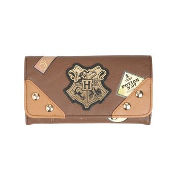 Licensed cool Harry Potter Flap Wallet Hogwarts School Crest Trunk Ladies Pebbled Faux Leather