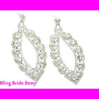 3 Inch Tear Drop Cutout Bling Bridal Earrings Pave W Rhinestones Silver Tone