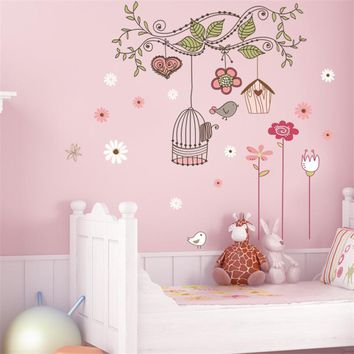 peel and stick wall decals pvc wall stickers baby room decorations zooyoo7102 flower bird cage house sticker 50x70
