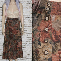 Plus Size High Waist Skirt Midi Orvis Tapestry Floral Print Earthy Earth tones Aline Gypsy 80S 70s Grunge Boho Goth Hippie Hipster 1X 14 16