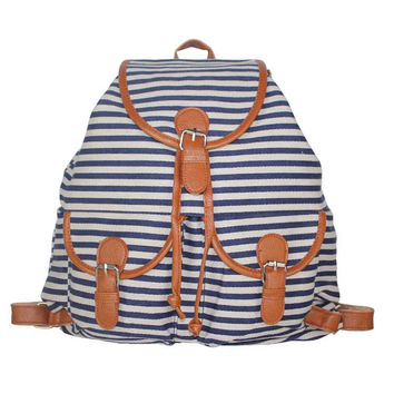 College Comfort Hot Deal On Sale Back To School Stylish Casual Canvas Stripes Fashion Ladies Backpack [8070742087]