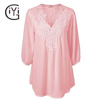 Women Clothing Vintage Sexy Lace Crochet Blouse Shirt Summer  Floral Loose Boho Top