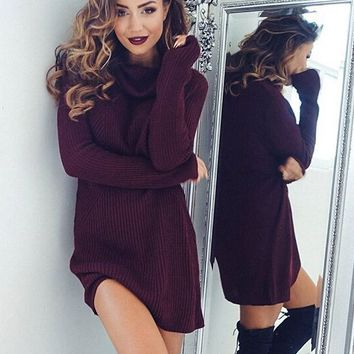 Sexy turtleneck long-sleeved sweater dress